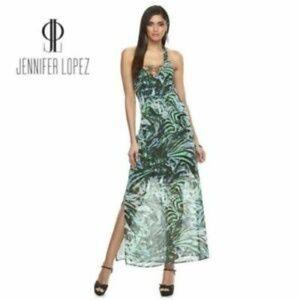 Jennifer Lopez Lace up Halter Maxi Sun Dress